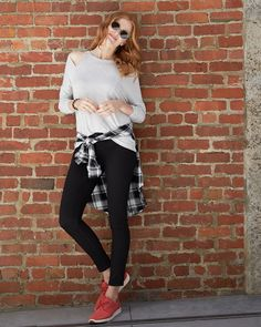 Going for an athleisurely stroll? Head out the door in a comfy @LNAClothing pullover, cool plaid & your sassiest shades.