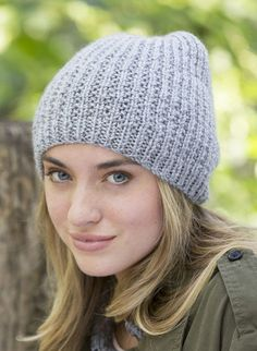 Free Knitting Pattern for One Skein Easy Fit Beanie - Easy slouchy unisex hat features a broken rib texture. Uses just one ball of the recommended yarn.