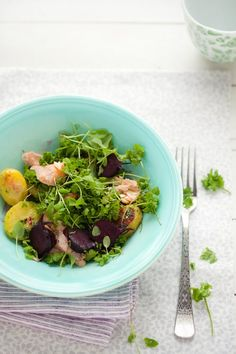 // Salmon, Roasted Potato and Beet Salad with Peppergrass and Sorrel Pesto