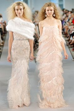 Blossom silk georgette metallic lame and ostrich feather embroidered gown; Blossom silk chiffon ostrich feather and fringe embroidered strapless gown, Oscar de la Renta Spring 2012 bridal