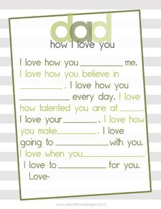 Simple fill in the blank Mother's Day Free Printable for Dad. This is perfect for a last minute gift or to add in with his card! And to put in the scrapbook! Father's Day Printable, Free Printables, Fathers Day Crafts, Happy Fathers Day, Daddy Gifts, Gifts For Dad, Mother And Father, Mothers, Daddy Day