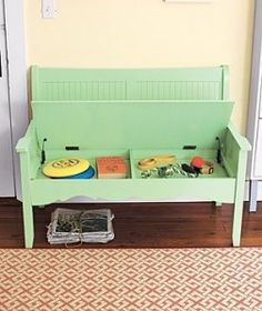 Wooden bench with secret storage space under seat