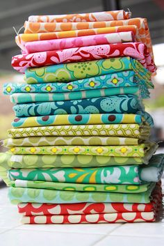 bright and happy fabric stack