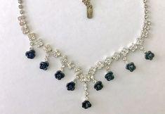Vintage Rhinestone & Black Rose Christina Collection Choker Designer Necklace NR #ChristinaCollection #Choker