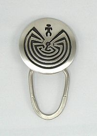 Authentic Native American Sterling Silver Man in a Maze Key Ring by Navajo Stanley Gene