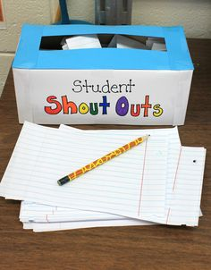 Kindness Seeds: Day 7: Student Shout Outs.  Students anonymously write kind words about their classmates and put them in the box.  They write the name of the person the the kind words are for, but they don't sign their own name.  The teacher writes them on the Shout Out bulletin board.