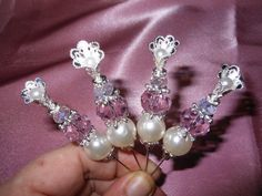 4 x Pearl & Crystal Stickpins Set 7 by jennings644 on Etsy