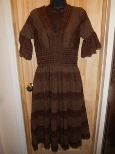 Dell Originals Los Angeles 1960's Brown Boho Hippie Lace & Pin Tuck Dress in Clothing, Shoes & Accessories, Vintage, Women's Vintage Clothing | eBay