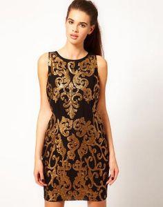 River Island | River Island Gold Sequin Shift Dress at ASOS