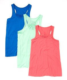 Look what I found on #zulily! Lady Tank Mint, Royal Blue & Coral Flowy Tank Set by Lady Tank #zulilyfinds