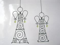 Wire Sculpture A Pair Of Angels In Olive Green by MyWireArt, $30.00