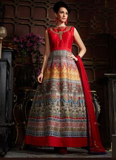 bcdbaacb224 Buy Red Multicolored High Neck Gown Anarkali at Rs.