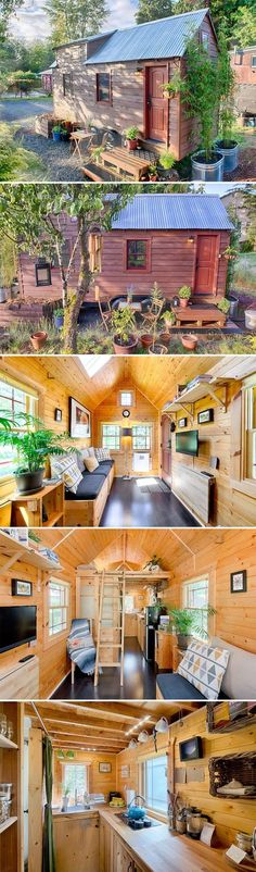 A 140 sq ft tiny house on wheels with a fabulous kitchen, loft bedroom, living and dining room, full bathroom, and plenty of hidden storage. Also available for rent on Airbnb. Tyni House, Tiny House Cabin, Tiny House Living, Tiny House Plans, Tiny House Design, Tiny House On Wheels, Tiny House Movement, Casas Containers, Tiny Spaces