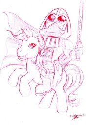 Darth Vader riding a My Little pony Star Wars