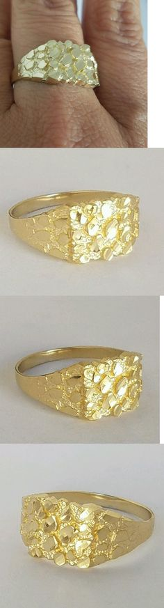 Men Jewelry: Mans Solid 14K Yellow Gold Nugget Ring S 9 10 11 12 BUY IT NOW ONLY: $119.0