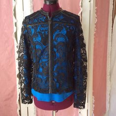 Beautiful Lace Jacket With Pleather Trim.