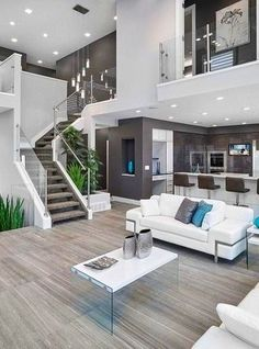 #homedesign #livingroomdecor #inspiration | Inspiration for a contemporary open concept living room in Edmonton with gray walls. � Houzz Living Room Kitchen, Stylish Living Room, Living Room Decor Apartment, Minimalist Living Room, Living Room Modern, Living Room Diy, Trendy Living Rooms, House Interior, Interior Design Living Room