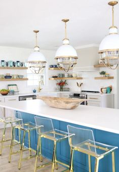 Lawless Hardware bar pulls in this colorful kitchen makeover from The Handmade Home! Kitchen Colors, Kitchen Decor, Nautical Kitchen, Kitchen Ideas, Recipe Holder, Dark Countertops, Cottage Kitchens, Wooden Bowls