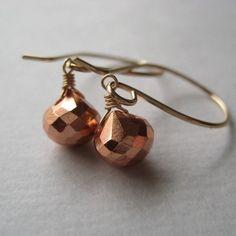Pyrite Earrings, Pyrite Briolette Earrings, Copper Pyrite Wire Wrapped Earrings, Gemstone Gold Fill Earrings. $28.00, via Etsy.