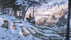 winter ruins, James Strehle on ArtStation Fantasy Art Landscapes, Fantasy Landscape, Environment Concept Art, Environment Design, Fantasy Places, Fantasy World, Valhalla, Fantasy Setting, Places