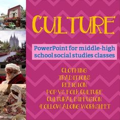 Culture PowerPoint for middle school and high school classes. Geography or other social studies classes, great for a unit intro!