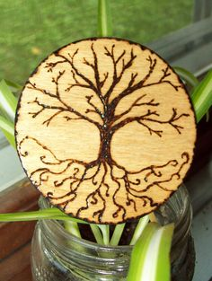 #Woodworking #Burning #Home-Decor #tree #tree-of-life #curly #curvy #straight #branches #roots #circle #seasons #pagan #wiccan #wicca #gift