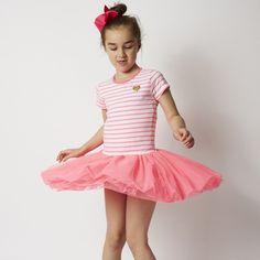Take a twirl in this Milky Ballerina Dress in Neon Coral Stripe. Ballerina Dress, Ballet Skirt, Tutus For Girls, Girls Dresses, Dress For You, Dress Skirt, Tulle, Coral, Neon