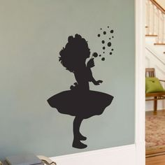 Little Girl Blowing Bubbles - Silhouette Wall Decal Sticker Graphic Kids Room Wall Decals, Wall Decal Sticker, Wall Art, Framed Art, Wall Decor, Little Girl Rooms, Little Girls, Dandelion Wall Decal, Dandelion Art