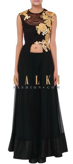 Buy Online from the link below. We ship worldwide (Free Shipping over US$100) http://www.kalkifashion.com/black-anarkali-suit-adorn-in-pleats-and-embossed-zari-embroidery-only-on-kalki.html