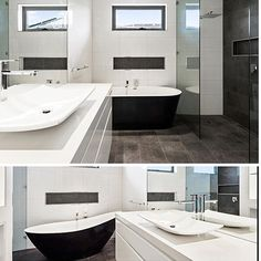 White vanity with white square tray basin, chrome tap and mixer, black and white freestanding round bathtub, white block tiled walls with black penny mosaic tiled niche. Project by - @mdv_tiling #taps #interiordesign #bathroom #australia #architecture #bathroomdesign #bathroomcollective Visit our website for more www.bathroomcollective.com.au
