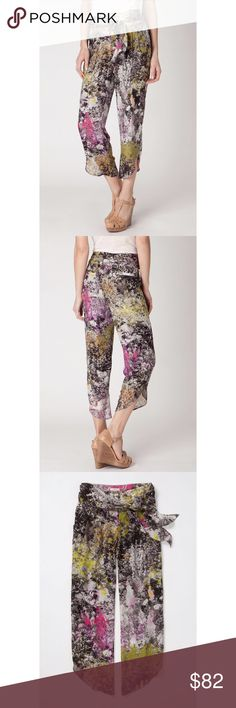 Stunning Leifsdottir silk crops Silk crops with chroma printed floral pattern. Zip and button front with tie waist sash. Front and back pockets. Fully lined. Worn briefly one time. Like new! Anthropologie Pants