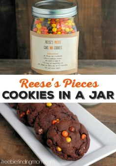 Reeses Pieces Cookies in a Jar - Need a great DIY gift idea? These ooey gooey chocolatey cookies are decadent and delicious gifts in a jar and are super simple to make. The gift recipient only needs to add two ingredients: eggs and oil. Diy Gifts In A Jar, Jar Gifts, Food Gifts, Gift Jars, Candy Gifts, Handmade Gifts, Mason Jar Cookies, Cookie Jars, Cookie Mixes