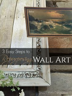 You can create your own repurposed art using an old picture at the thrift store. Farmhouse styling, big impact, on a budget. DIY & Decor and Upcycling.