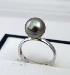HS #Tahitian South Sea Cultured #Pearl 10.06mm 925 Sterling Silver #Ring Top Grade #Jewelry #Valentine #Birthday