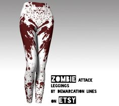 Zombie Attack leggings/ blood splattered leggings / dexter leggings / sexy halloween costume for adult woman / leggings, yoga pants