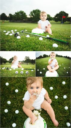 First birthday portraits. Baby boy on a golf course. Golf course portraits. Erin Kata Photography.