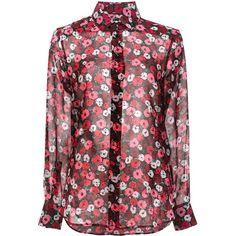 Saint Laurent Paris collar printed shirt (75.430 RUB) via Polyvore featuring tops, red, patterned shirts, red top, print shirts, shirt top и slim fit collared shirts