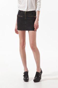 Zara Coated Skirt With Zips