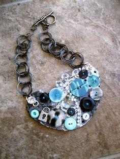 Aqua Beauty Button Bib Necklace by EmilysPrettyThings on Etsy, $28.00