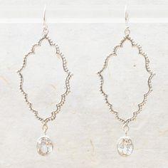 Selena Clear Quartz Drop Earrings - great arabesque shape!