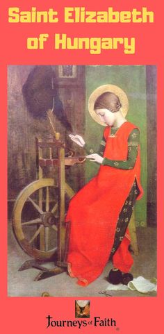 Marianne Stokes St Elizabeth of Hungary Spinning for the Poor - Spinning wheel - Wikipedia, St. Elisabeth of Hungary spinning for the poor, a depiction of the castle style spinning wheel in art. Note also the distaff used to hold the fiber Catholic Art, Catholic Saints, Religious Images, Religious Art, Saint Elizabeth Of Hungary, Art Magique, Spinning Wool, Spinning Wheels, Walter Crane