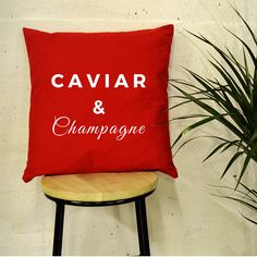 NEXT DAY DISPATCH White or Red Caviar & Champagne Quote Luxury Cushion  This cushion is perfect for getting cosy on Sundays & chilly Winter evenings.  Our cushions and pillows are not only perfect gifts, they are a unique home accessory and a great talking point for family & friends. Size: 43cm x 43cm  PAYMENT  You can pay by Paypal or use your card and pay using direct Checkout. DELIVERY  All items are securely packaged to ensure quality. SHIPPING  UK Shipping 2-4 days  Europe 5-...