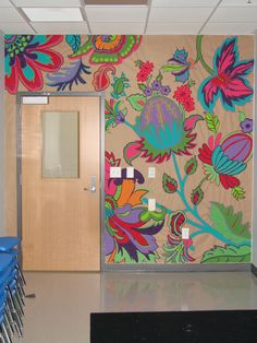 Classroom mural - I really hate when ceiling tiles are covered and not cohesive. I would prefer the walls to be covered. High School Art, Middle School Art, Mural Art, Wall Murals, Group Art Projects, School Murals, Collaborative Art, Classroom Decor, Classroom Walls