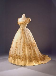 In the Swan's Shadow: Ballgown with faux straw embroidery, ca. 1865
