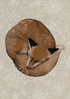 Sleepy fox is already dreaming of winter. available at society6