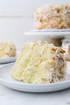 This Coconut Custard Cake is a vanilla cake flavored with coconut and layered with a decadent creamy coconut custard and frosted with cream cheese frosting. Cover this cake with shredded coconut for the ultimate coconut cake. Coconut Custard Cake Recipe, Coconut Cake Frosting, Custard Desserts, Coconut Desserts, Coconut Recipes, Just Desserts, Delicious Desserts, Dessert Recipes, Coconut Cakes