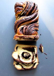 Who wouldn't be delighted to receive an elegant chocolate babka on Christmas day? Simply bake, then wrap in baking paper tied up with red ribbon.