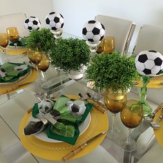 #tabescapes #tablesetting #decor #yellow #green #soccer #worldcup #brazil