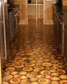 End grain flooring kitchen