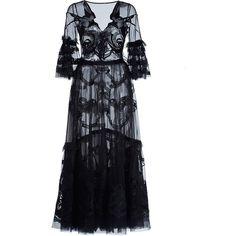 Temperley London Black Mast Midi Dress (72.458.760 VND) ❤ liked on Polyvore featuring dresses, a line midi dress, sleeve dress, flared sleeve dress, flare dress and flare cocktail dress